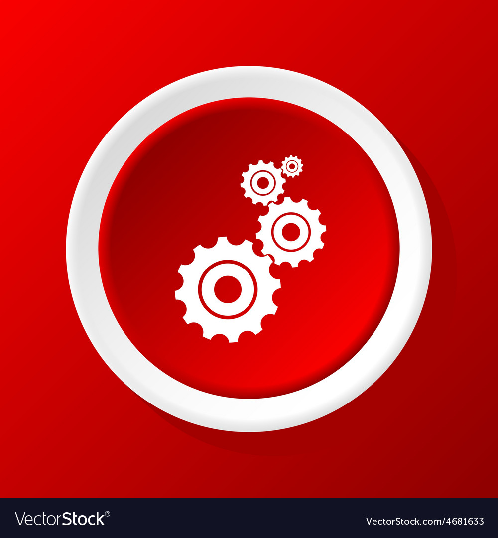 Gears icon on red vector | Price: 1 Credit (USD $1)