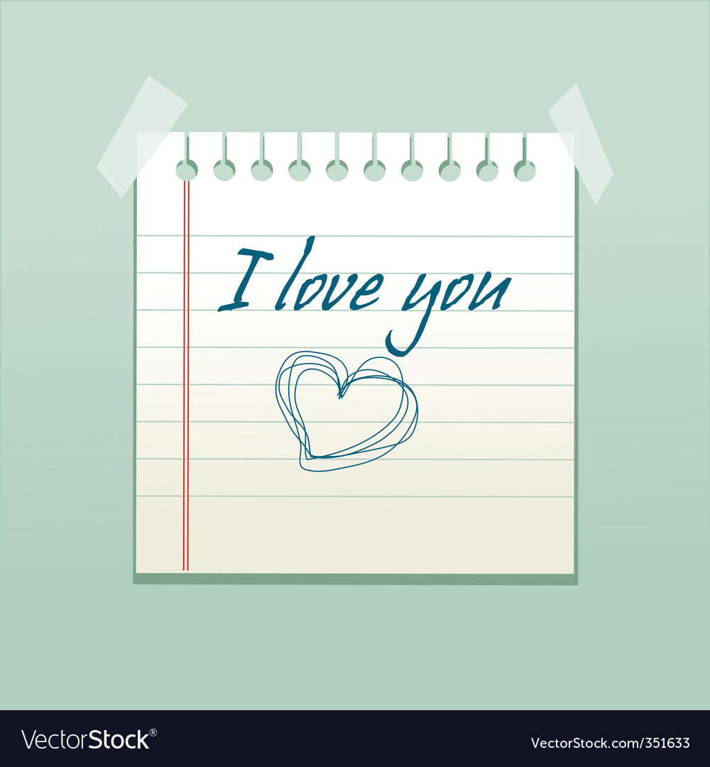 Love you note vector | Price: 1 Credit (USD $1)