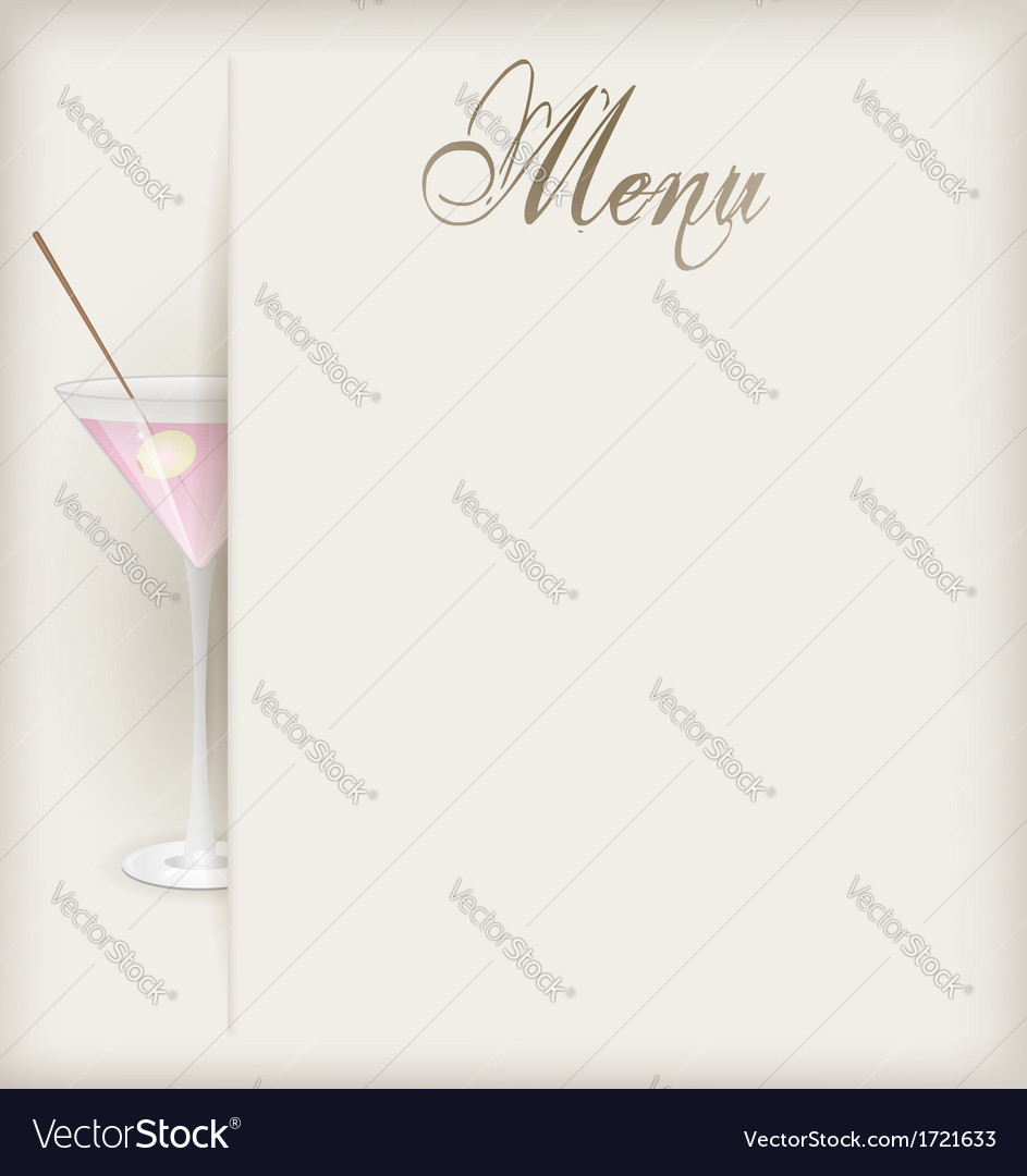 Menu vertical martini vector | Price: 1 Credit (USD $1)