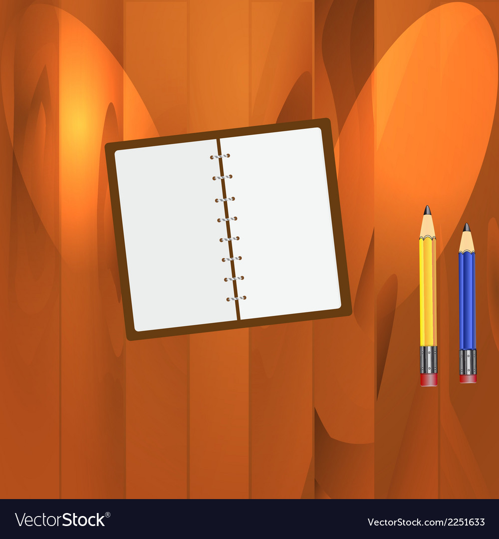 Notepad and pencils on the table vector | Price: 1 Credit (USD $1)