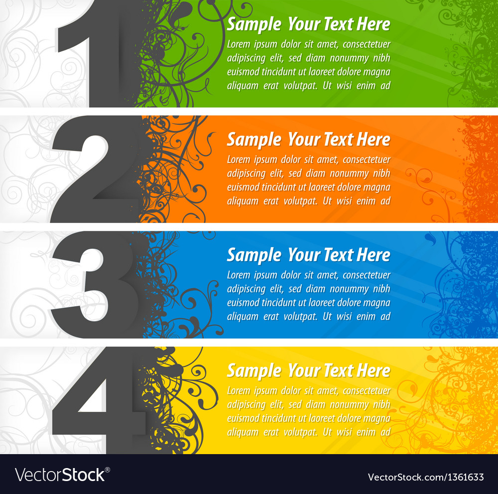 Set of colored number banners vector | Price: 1 Credit (USD $1)