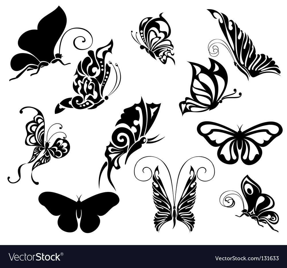 Set of tattoo butterflies vector | Price: 1 Credit (USD $1)
