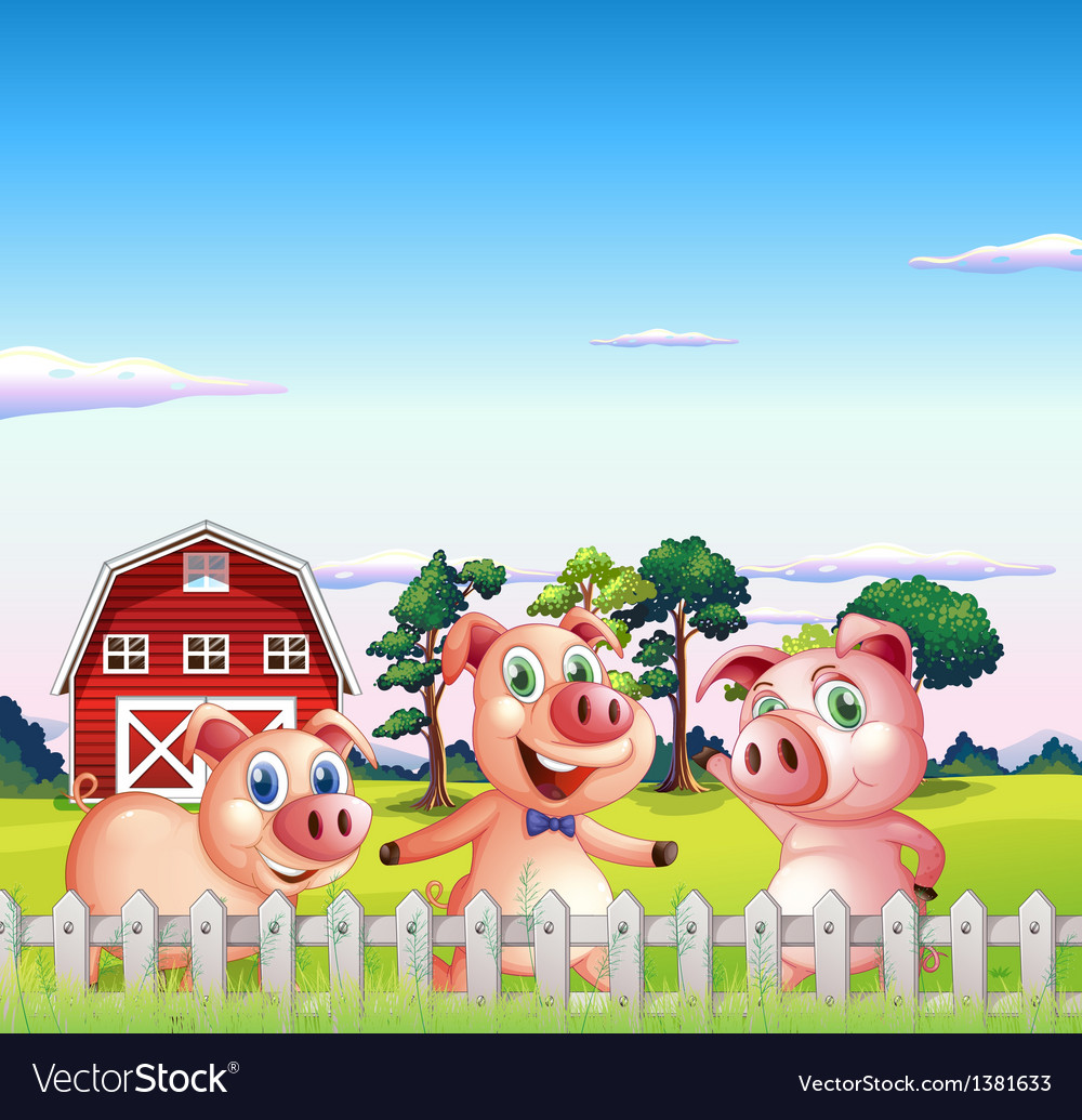 Three pigs dancing inside the fence vector | Price: 1 Credit (USD $1)