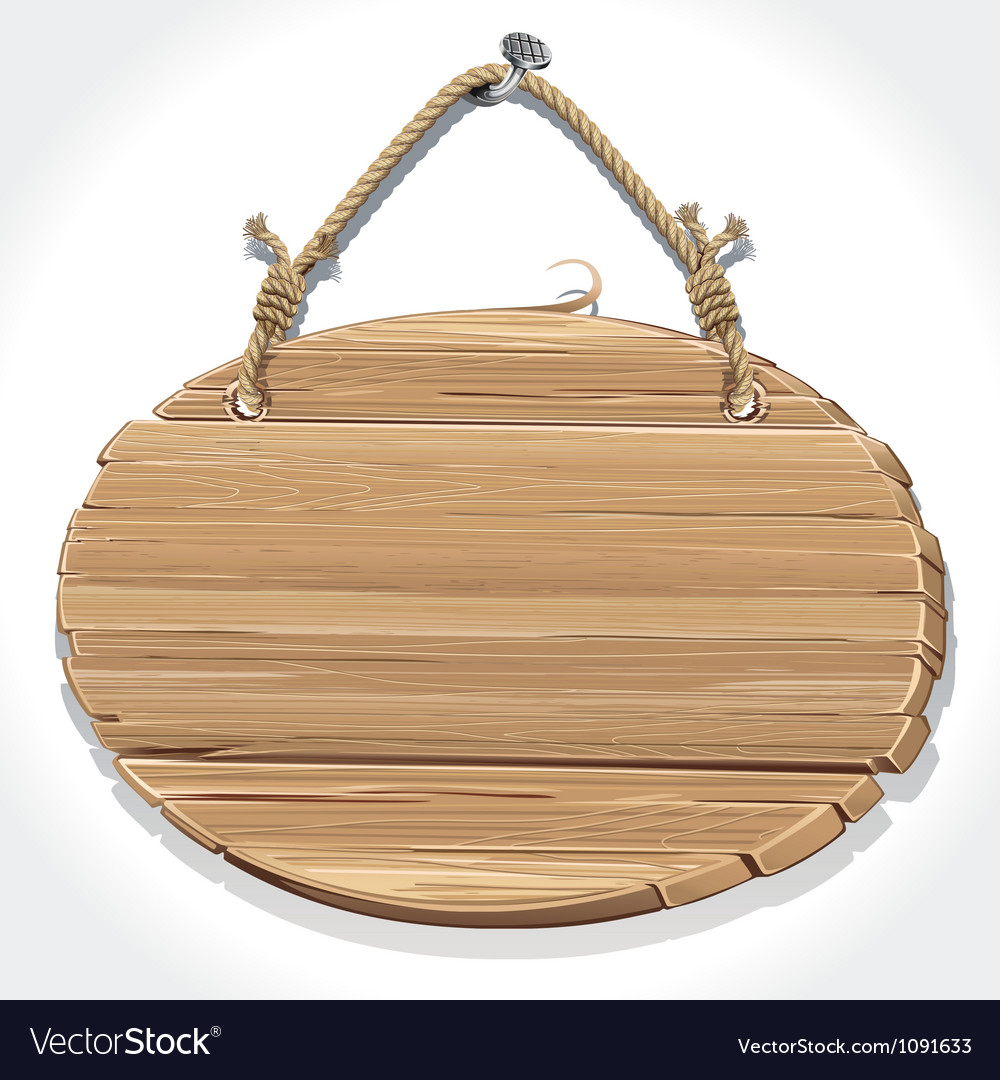 Wooden sign board with rope hanging on a nail vector | Price: 1 Credit (USD $1)