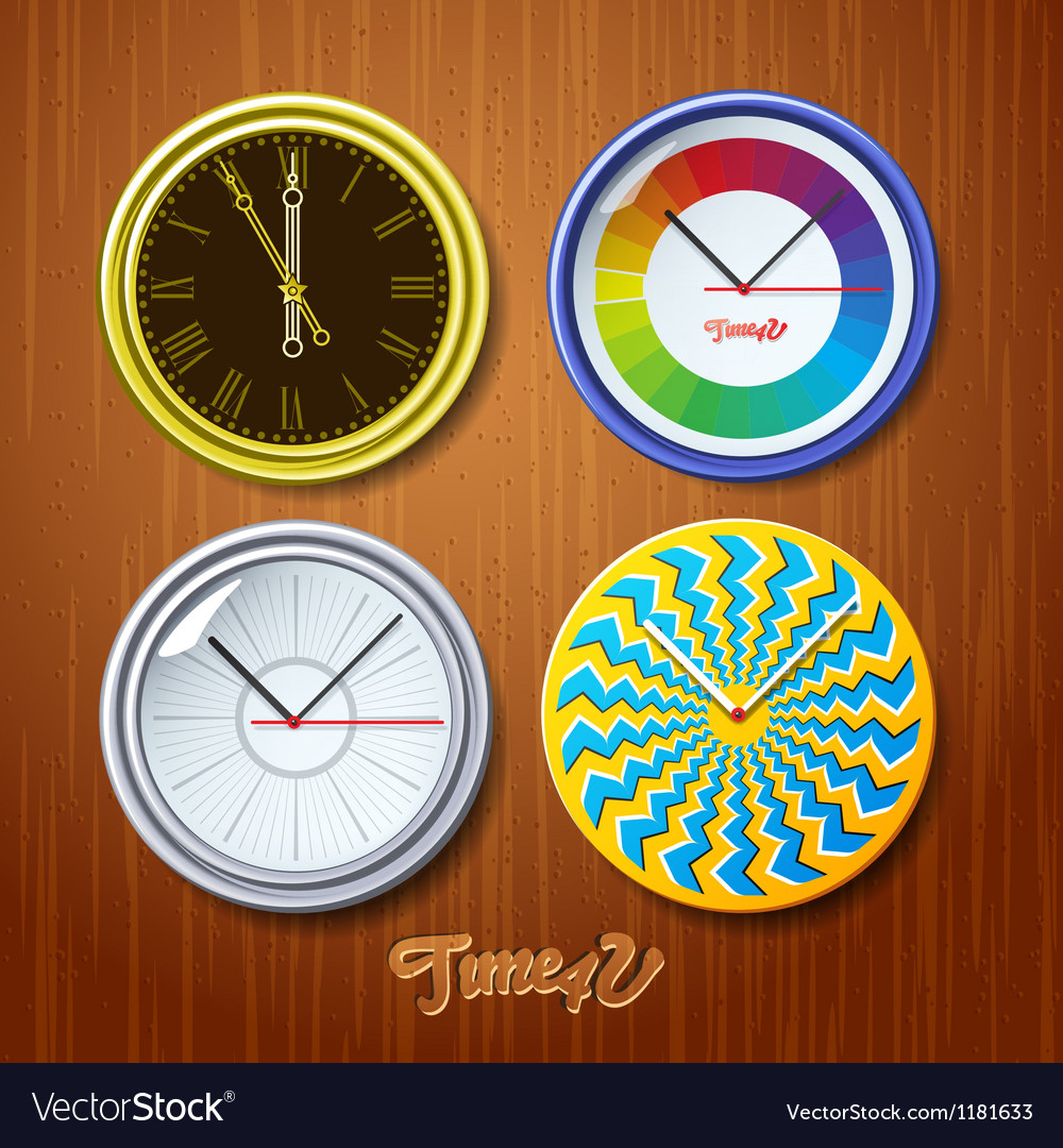 World time watches on wooden wall vector | Price: 3 Credit (USD $3)