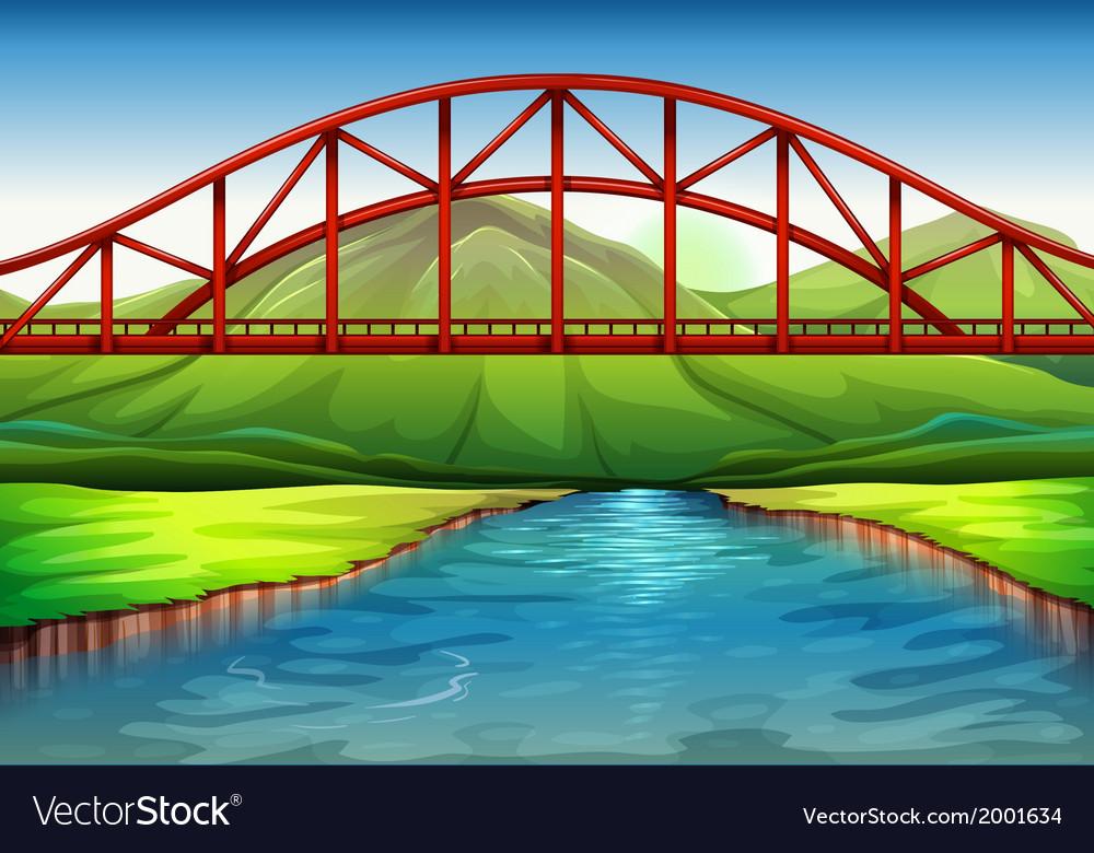A bridge above the river vector | Price: 1 Credit (USD $1)