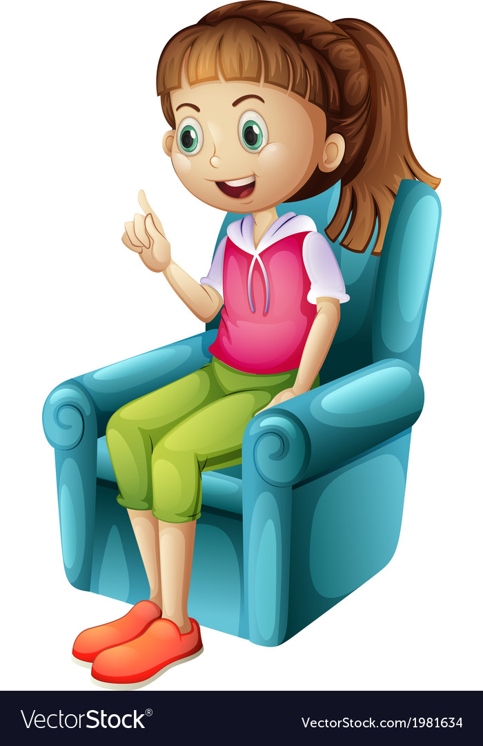A smiling young girl sitting vector | Price: 1 Credit (USD $1)