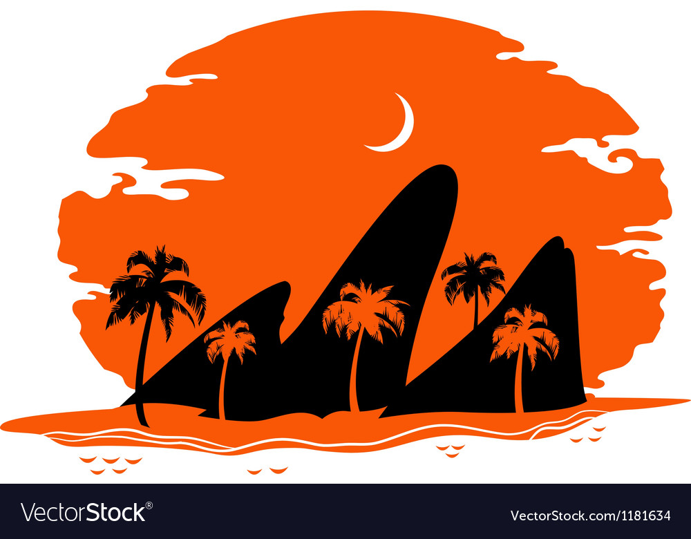 Abstract landscape of tropical beach vector | Price: 1 Credit (USD $1)