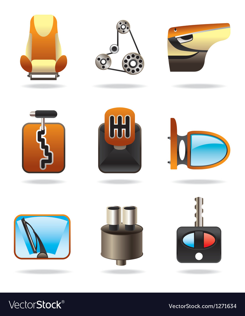 Car parts icon set vector | Price: 3 Credit (USD $3)
