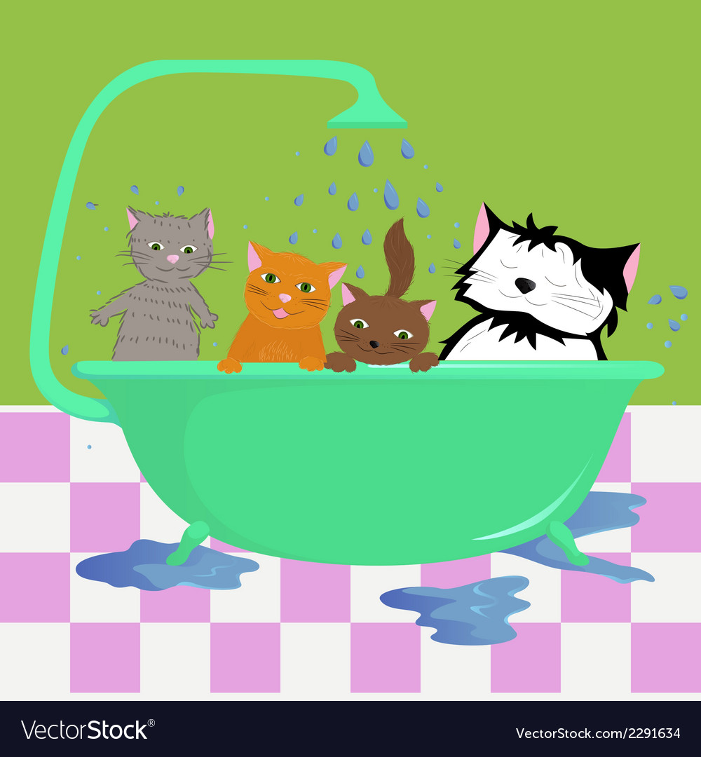 Cats in bath vector | Price: 1 Credit (USD $1)