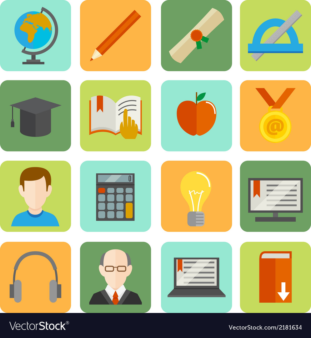 E-learning flat icon set vector | Price: 1 Credit (USD $1)