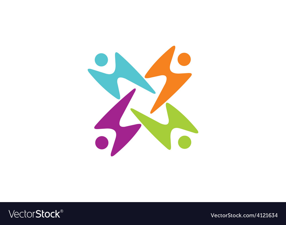 People group play color logo vector | Price: 1 Credit (USD $1)