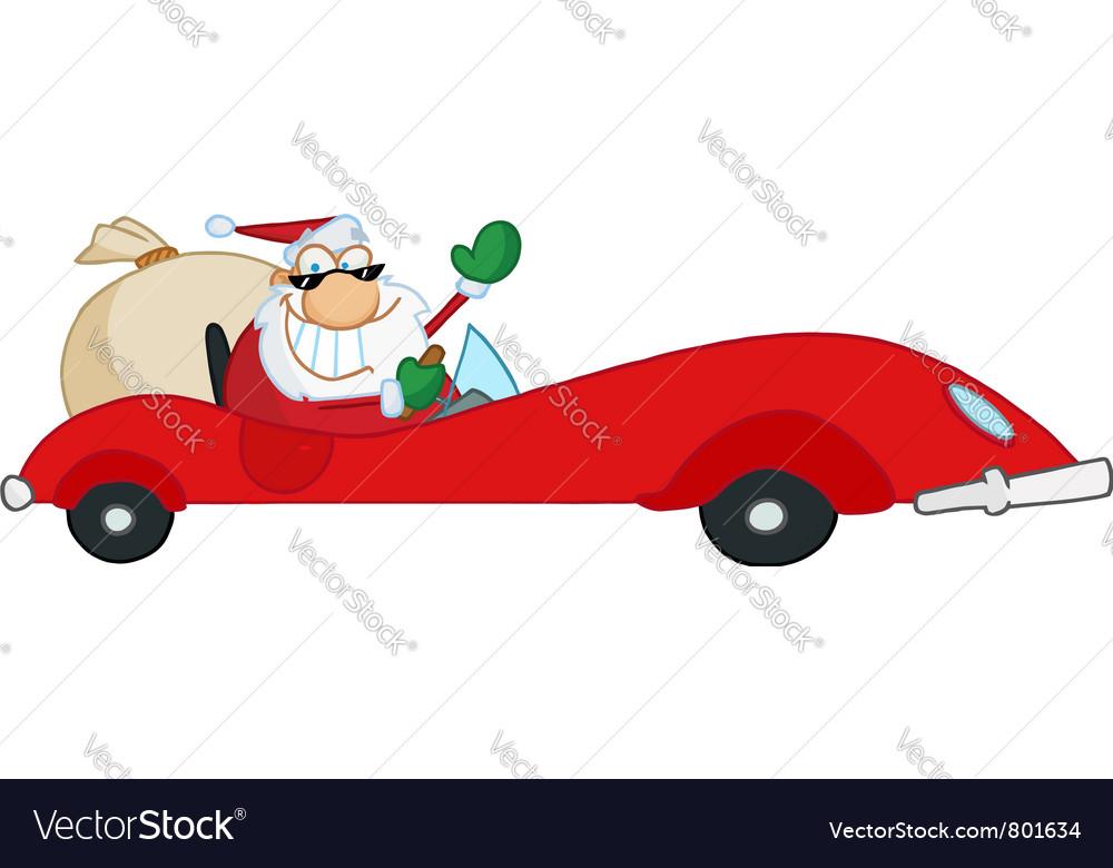 Santa driving sports car vector | Price: 1 Credit (USD $1)