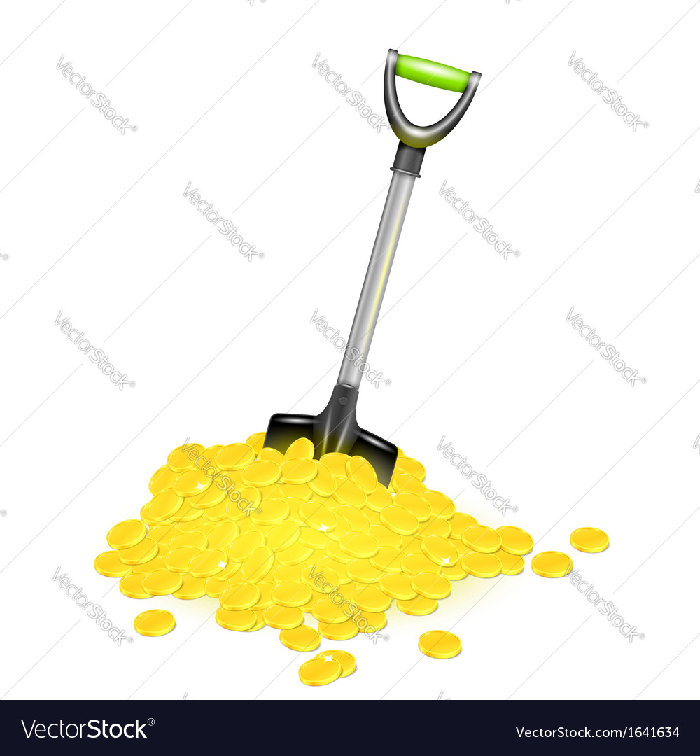Shovel in golden pile vector | Price: 1 Credit (USD $1)