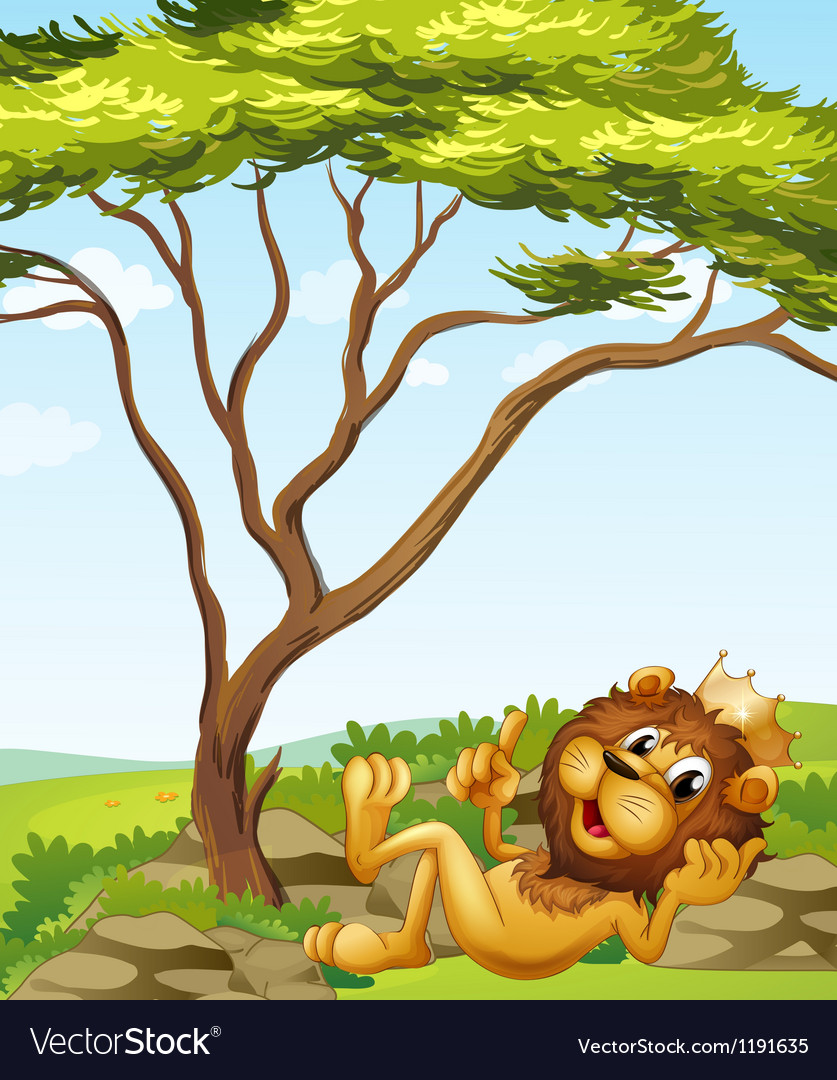 A king lion lying down near the tree vector | Price: 1 Credit (USD $1)