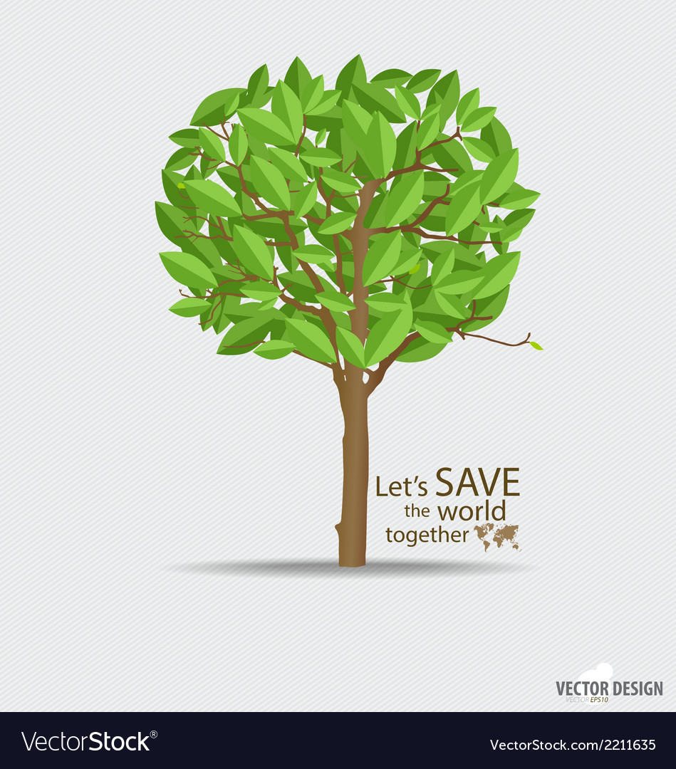 Abstract tree with green leaves vector | Price: 1 Credit (USD $1)
