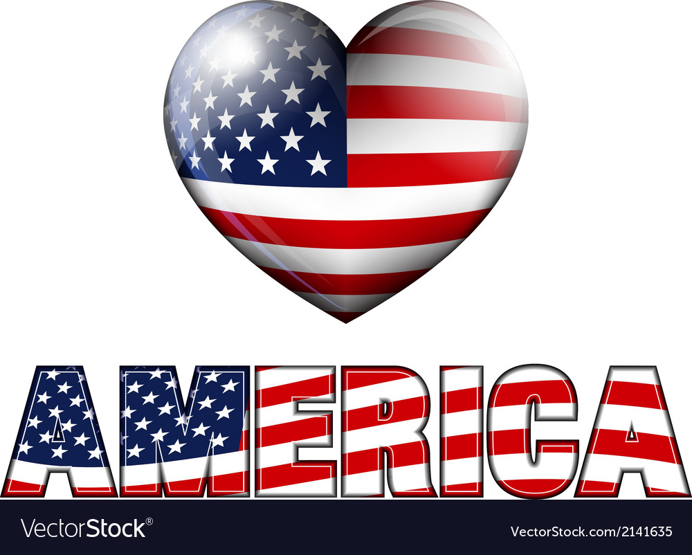 America with heart icon vector | Price: 1 Credit (USD $1)