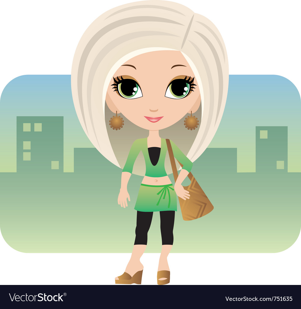 Cartoon woman in a city vector | Price: 3 Credit (USD $3)