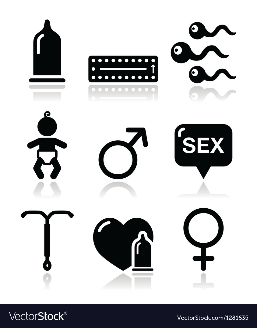 Contraception methods sex icons sex vector | Price: 1 Credit (USD $1)