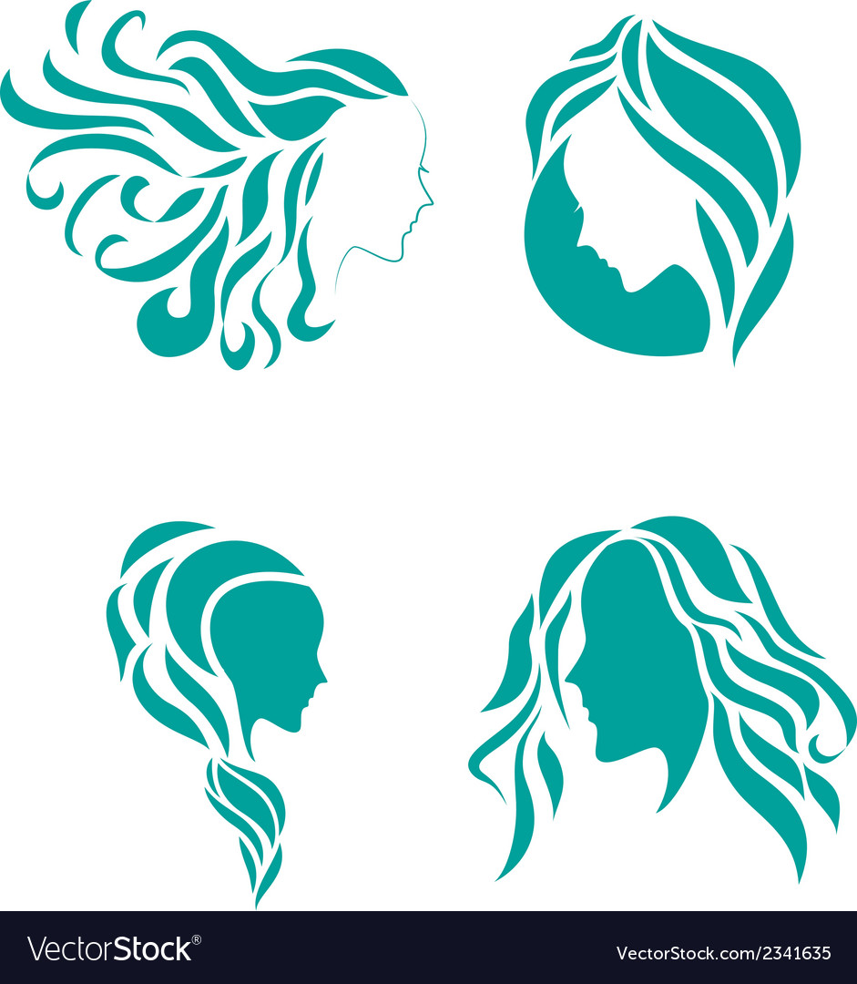 Hair fashion icon symbol of female beauty vector | Price: 1 Credit (USD $1)