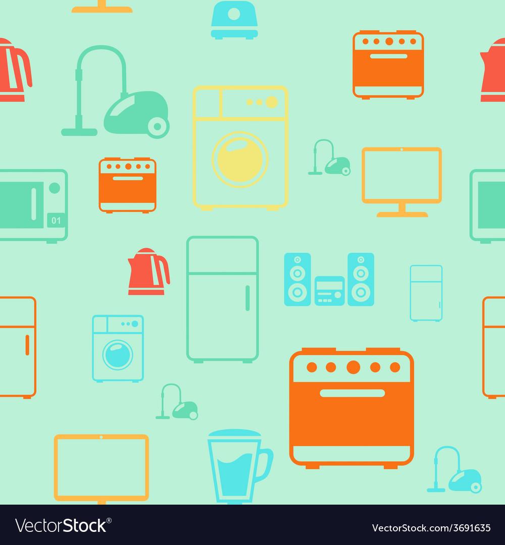 Kitchen appliances seamless pattern background vector | Price: 1 Credit (USD $1)