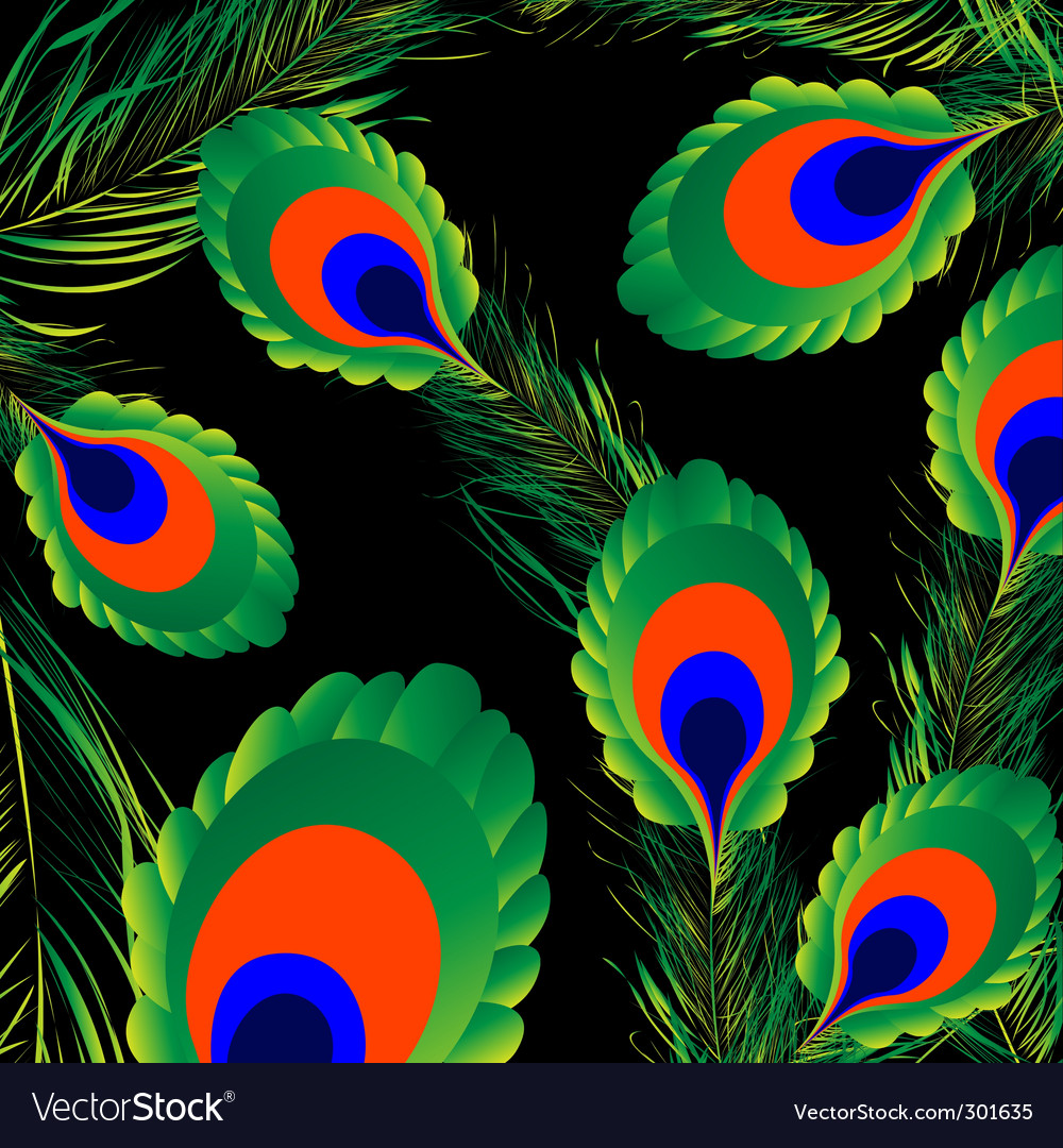 Peacock feathers background vector | Price: 1 Credit (USD $1)