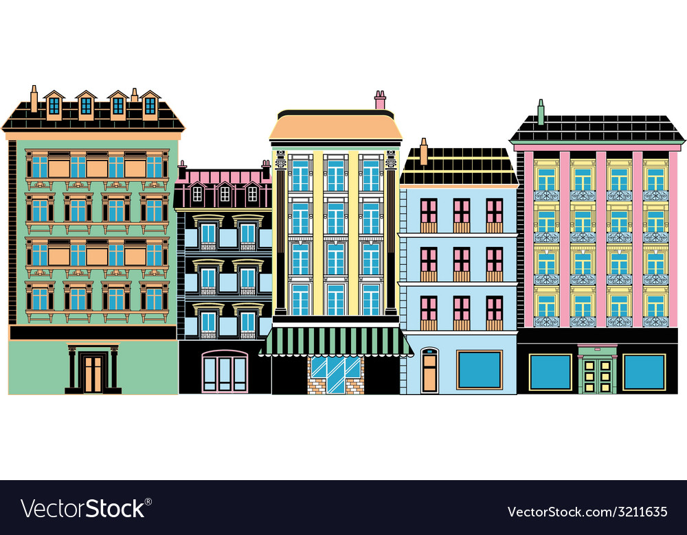 Stylized ancient houses vector | Price: 1 Credit (USD $1)