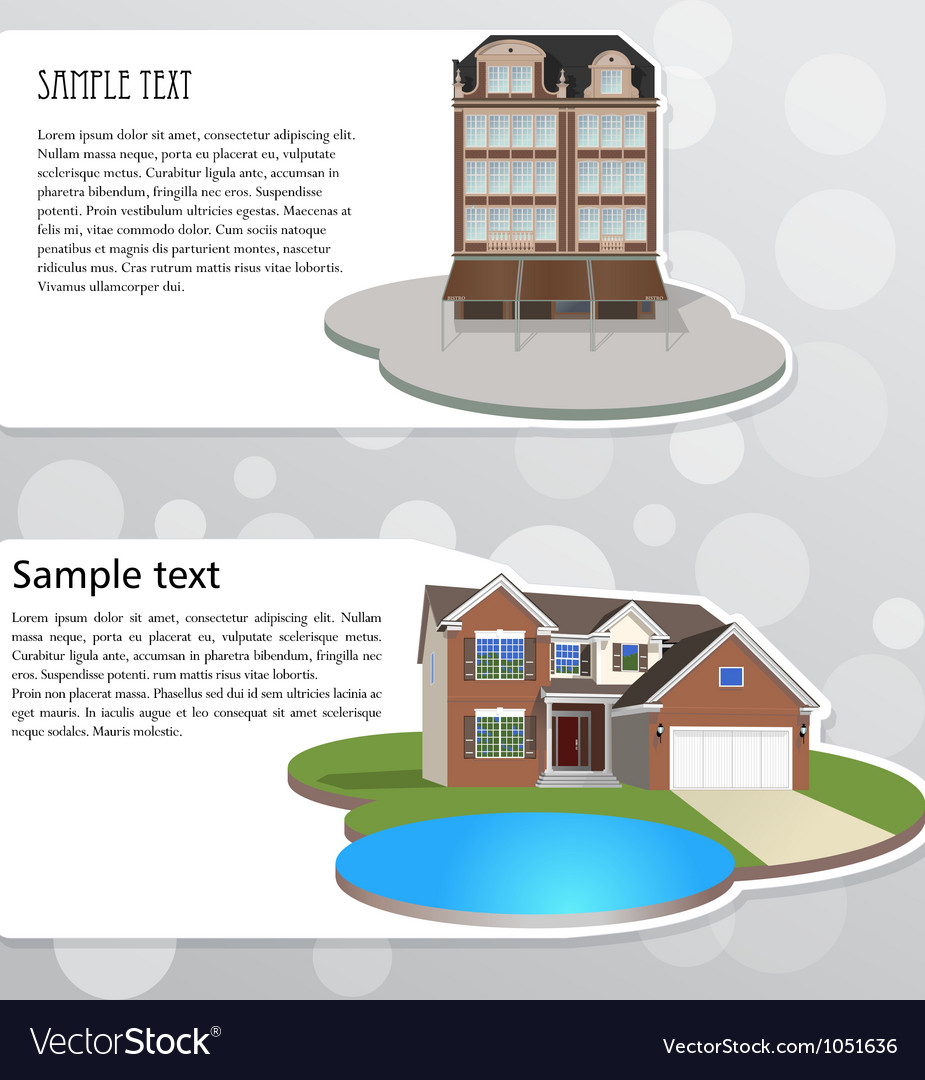 Banners with houses vector | Price: 1 Credit (USD $1)