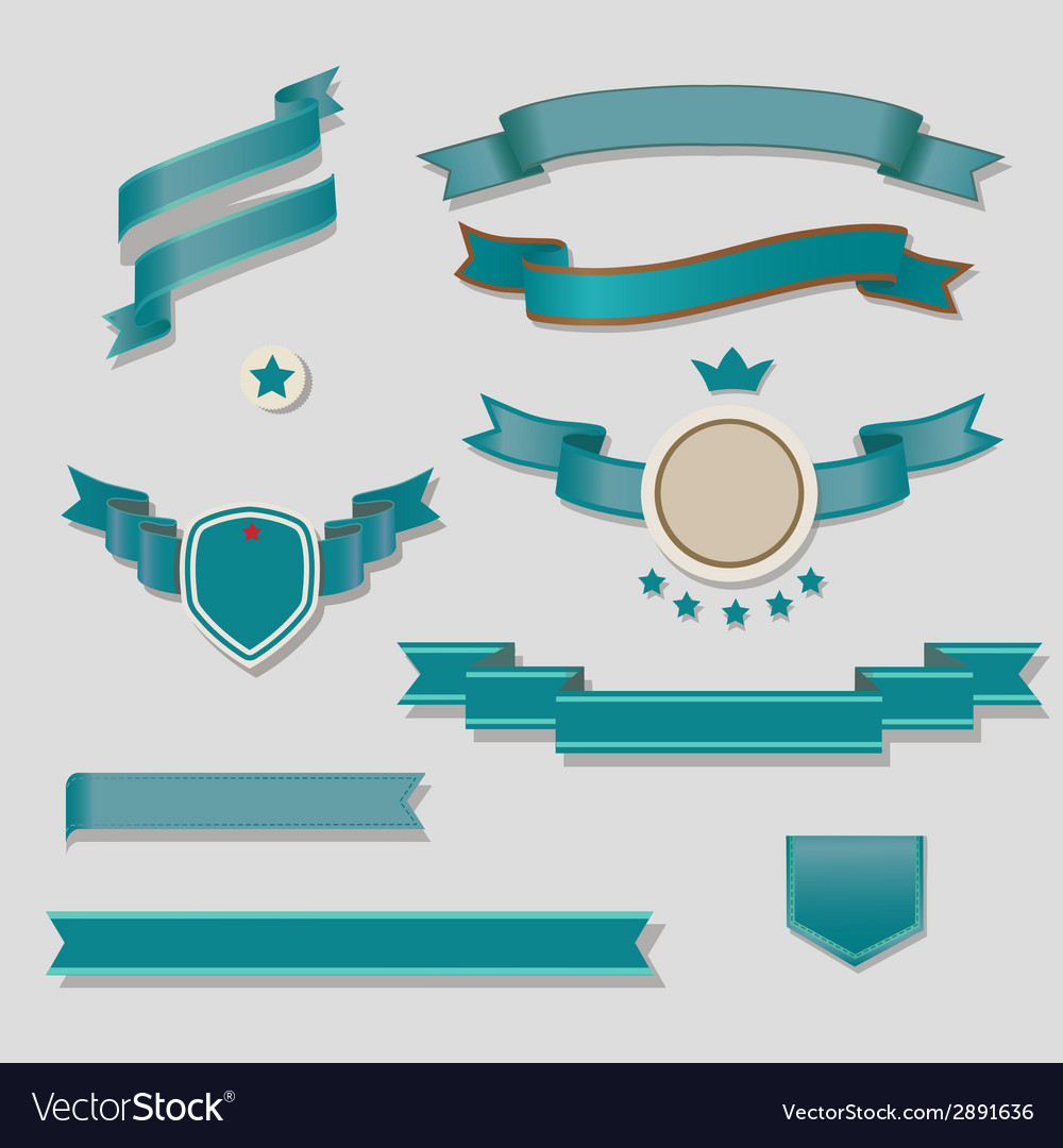 Blue ribbons set vector | Price: 1 Credit (USD $1)