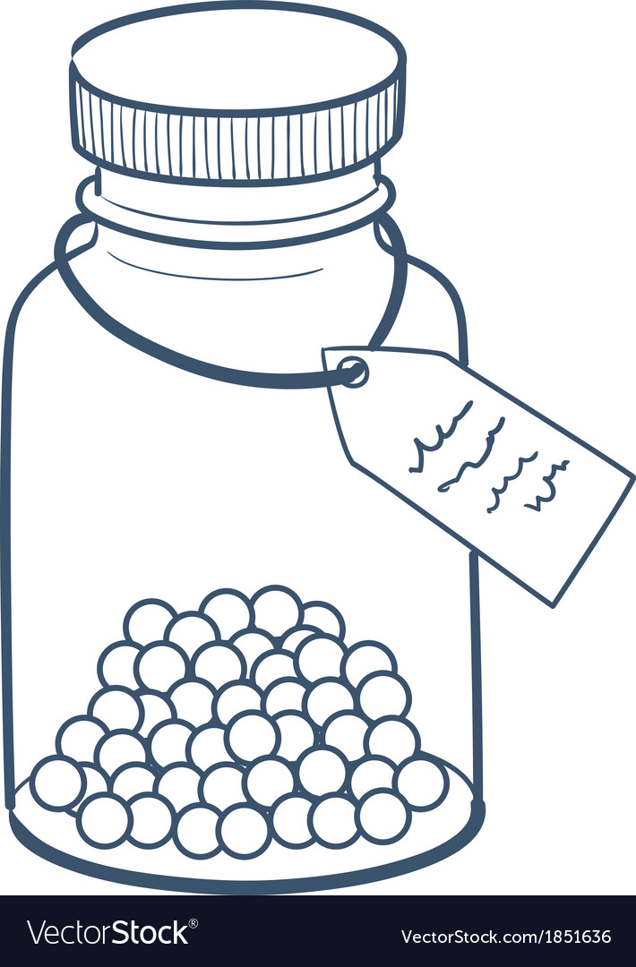 Bottle with pills isolated on white vector | Price: 1 Credit (USD $1)