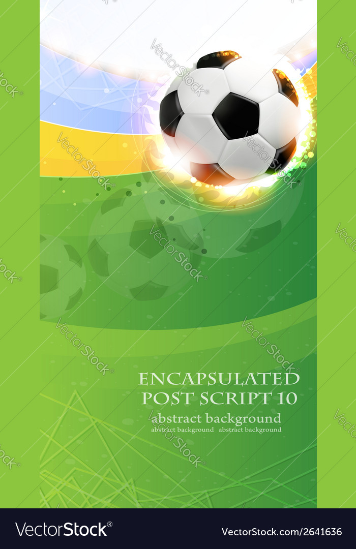 Burning soccer ball on playing field vector | Price: 1 Credit (USD $1)