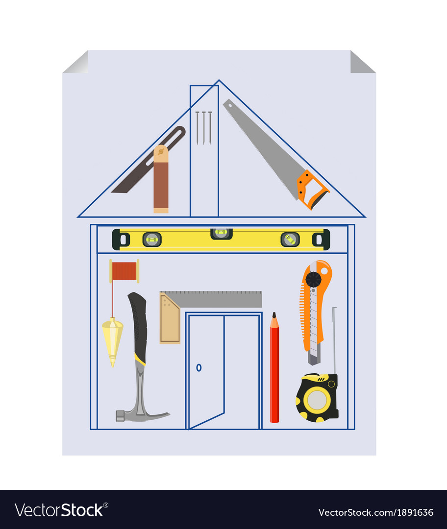 Carpenters tool kit project vector | Price: 1 Credit (USD $1)