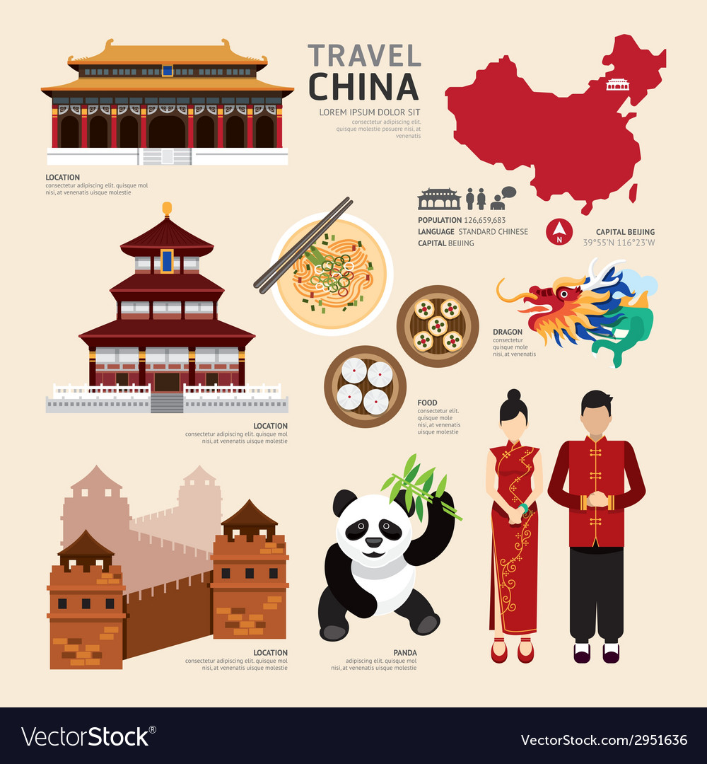 China flat icons design travel concept vector