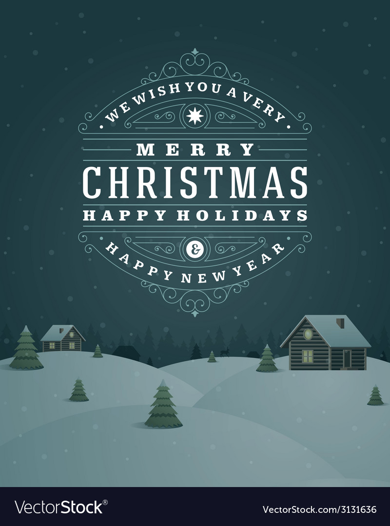 Christmas landscape retro typography and ornament vector | Price: 1 Credit (USD $1)