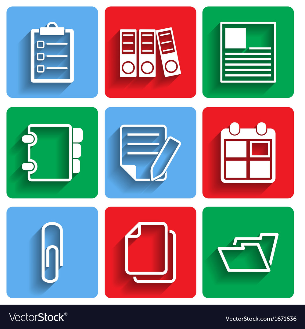 Flat document office icons with shadow vector | Price: 1 Credit (USD $1)