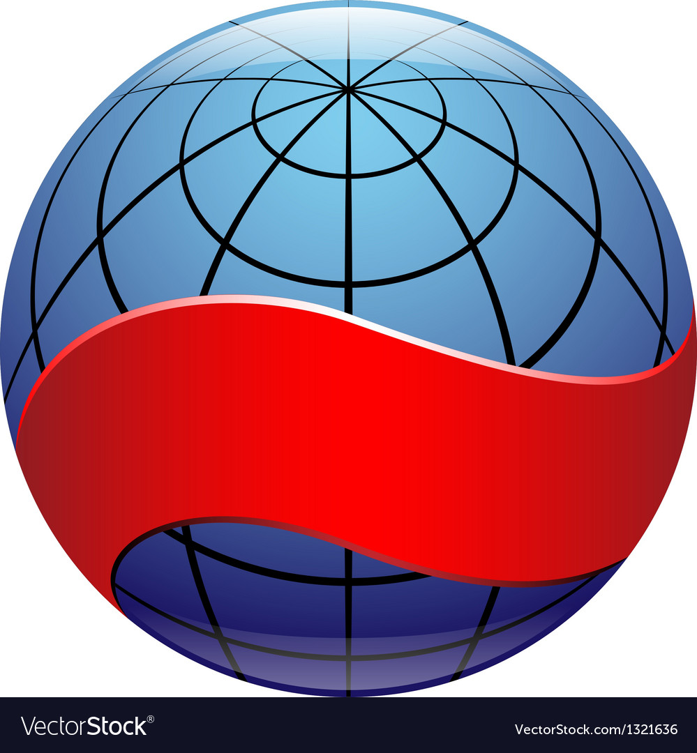 Globe sign with ribbon vector | Price: 1 Credit (USD $1)