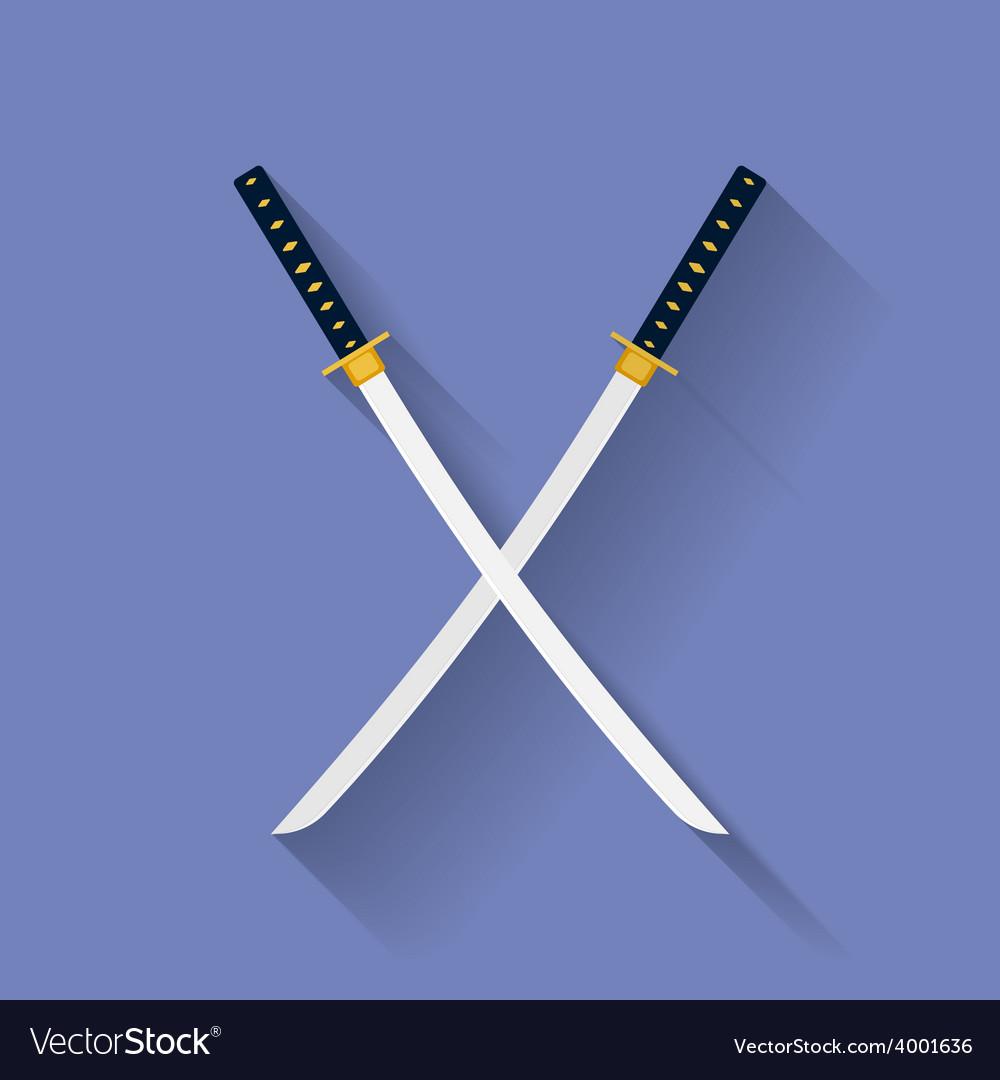 Icon of katana swords flat style vector | Price: 1 Credit (USD $1)