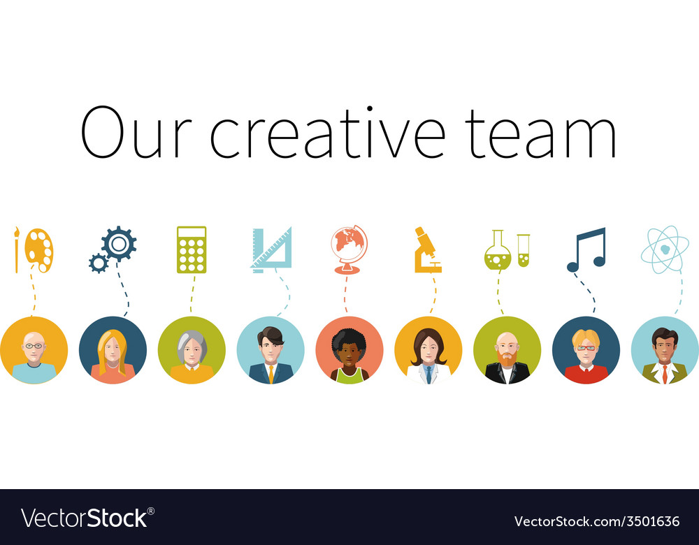 Our creative team flat people with signs their vector | Price: 1 Credit (USD $1)