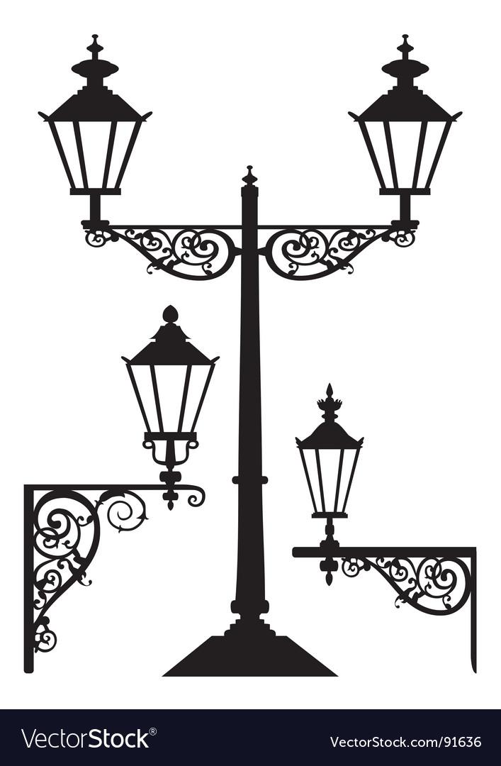 Retro streetlight set vector | Price: 1 Credit (USD $1)
