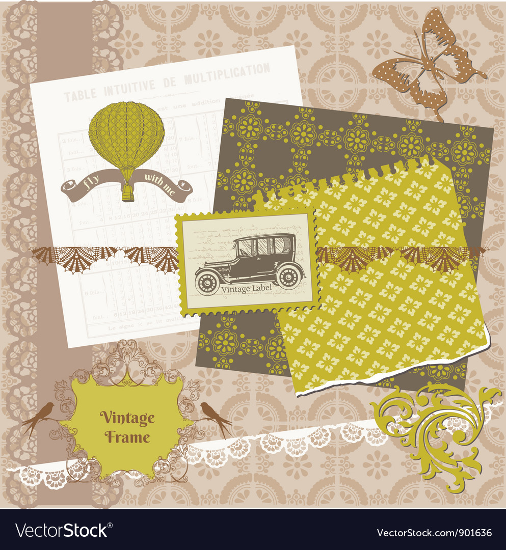 Scrapbook design elements - vintage time set vector | Price: 1 Credit (USD $1)