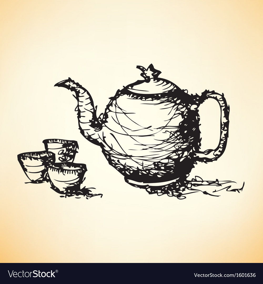 Sketch drawing of teapot with cup vector   Price: 1 Credit (USD $1)