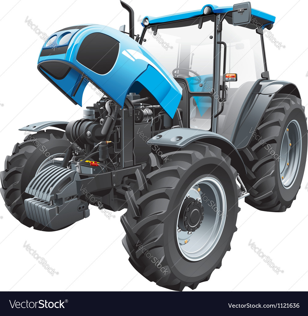 Tractor with open hood vector | Price: 5 Credit (USD $5)