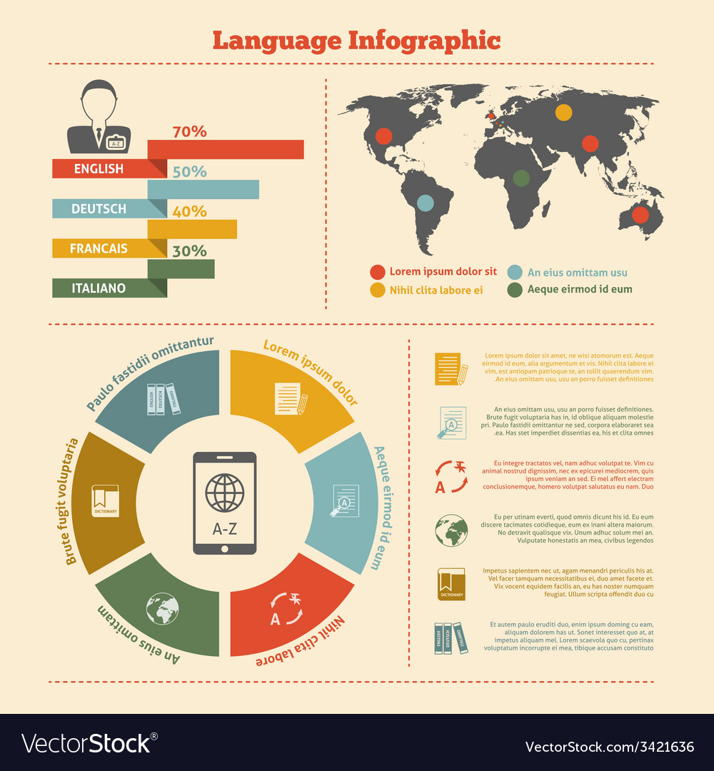 Translation and dictionary infographics vector | Price: 1 Credit (USD $1)