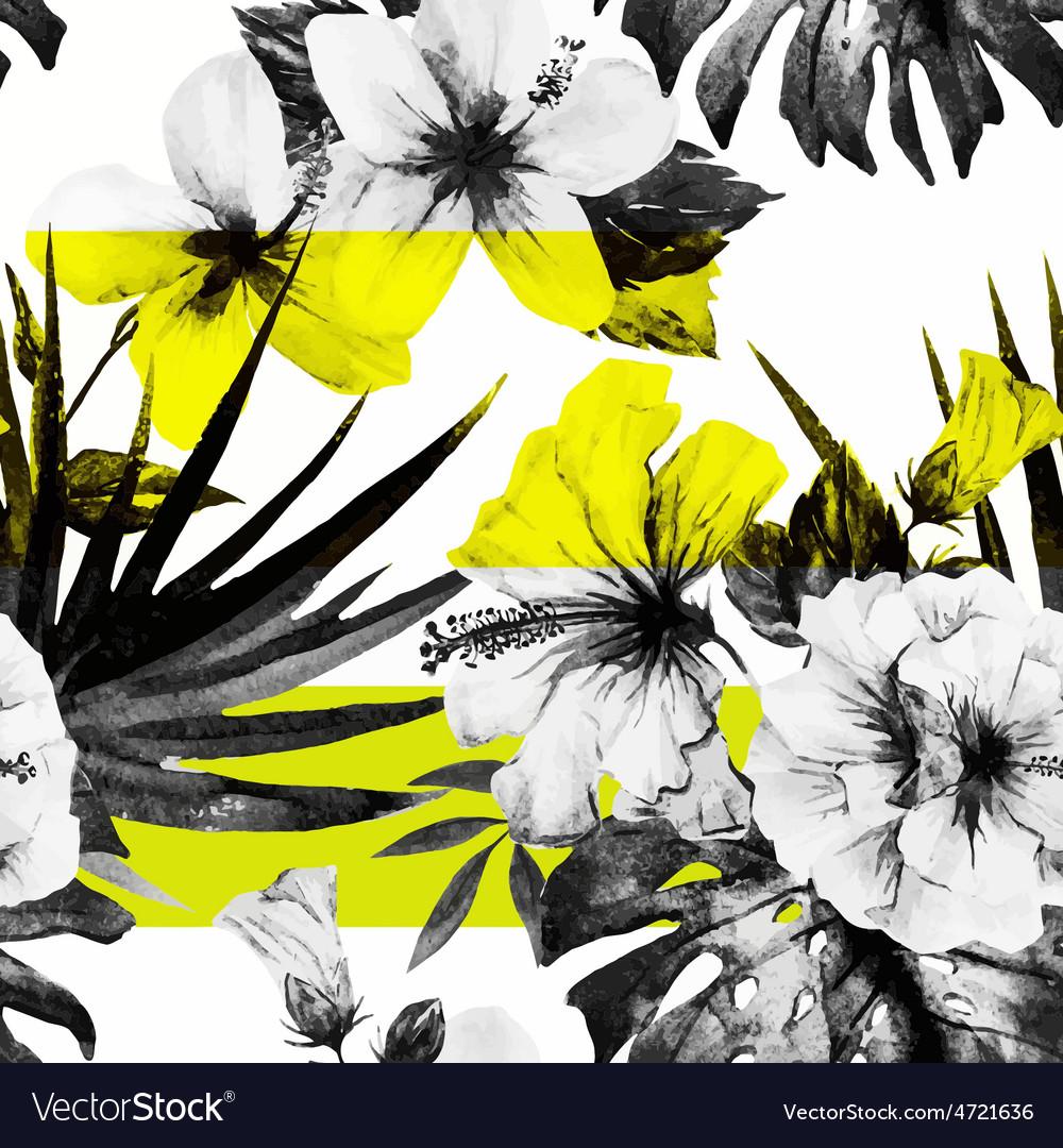 Watercolor hibiscus patterns vector | Price: 1 Credit (USD $1)