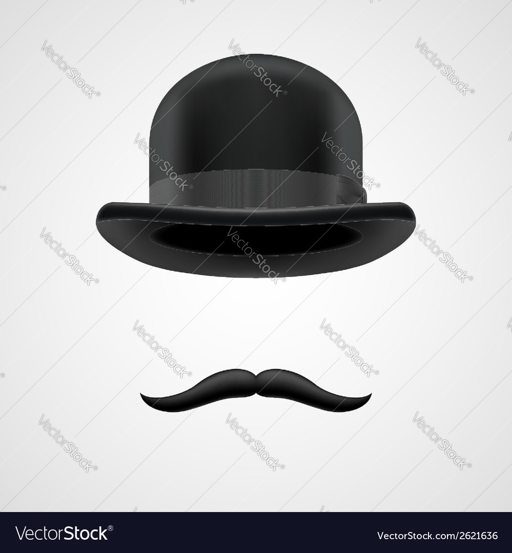 Wealthy gentleman with moustaches and bowler hat vector | Price: 1 Credit (USD $1)