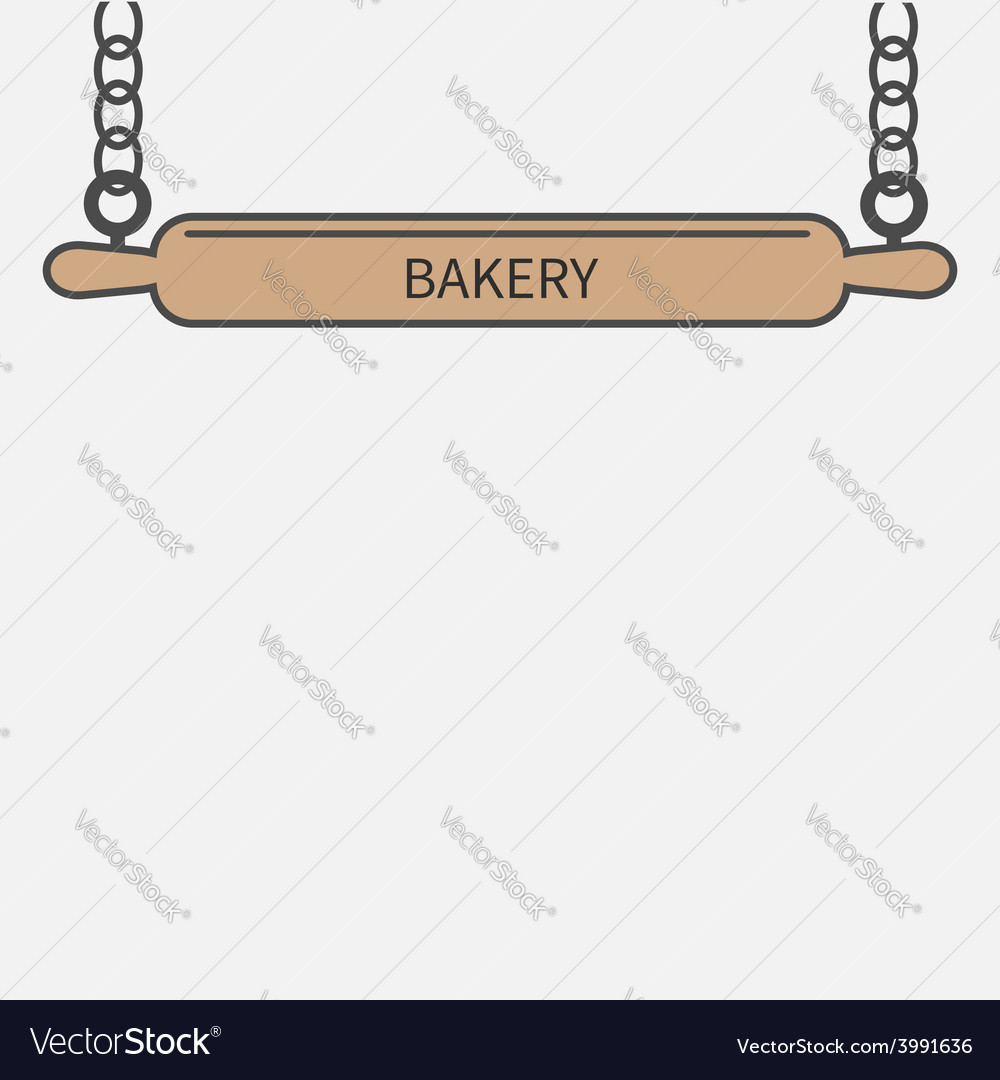 Wooden rolling pin plunger chain bakery signboard vector | Price: 1 Credit (USD $1)