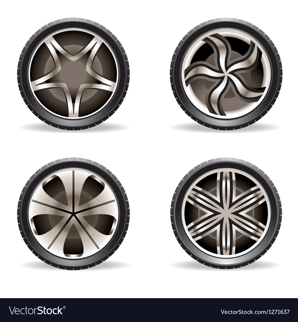 Aluminum rims set vector | Price: 1 Credit (USD $1)
