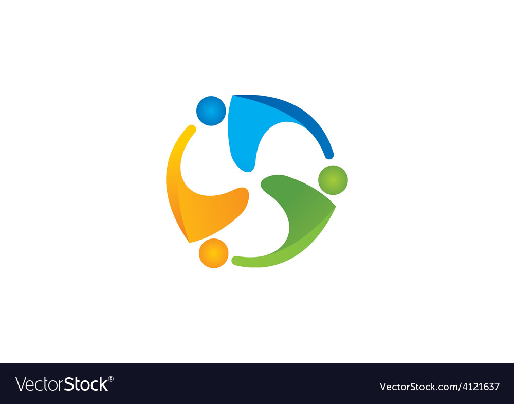 People group teamwork circle logo vector | Price: 1 Credit (USD $1)