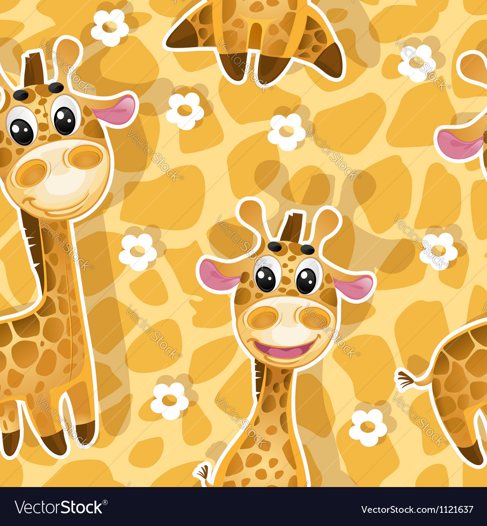 Seamless background with babies giraffes vector | Price: 1 Credit (USD $1)