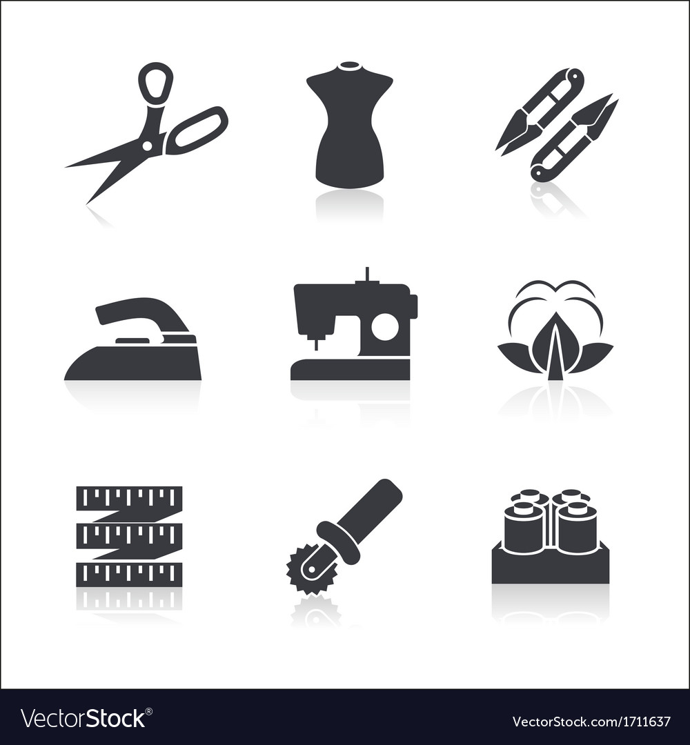 Sewing icons set vector | Price: 1 Credit (USD $1)